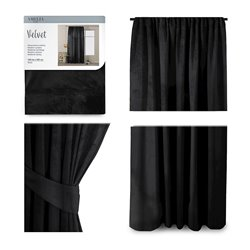 CURT/AH/VELVET/PLEAT/BLACK/140X245/1PC
