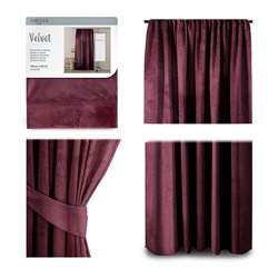 CURT/AH/VELVET/PLEAT/BURGUNDY/140X245/1PC