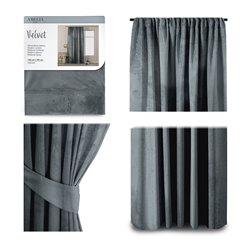 CURT/AH/VELVET/PLEAT/CHARCOAL/140X245/1PC
