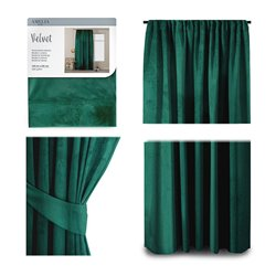 CURT/AH/VELVET/PLEAT/D.GREEN/140X245/1PC
