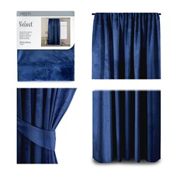 CURT/AH/VELVET/PLEAT/INDIGO/140X245/1PC