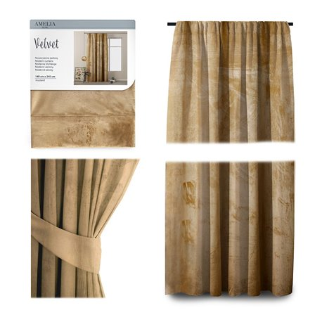 CURT/AH/VELVET/PLEAT/MUSTARD/140X245/1PC