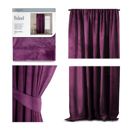 CURT/AH/VELVET/PLEAT/PLUM/140X270/1PC