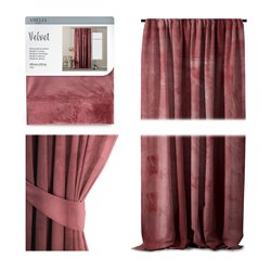 CURT/AH/VELVET/PLEAT/ROSE/140X270/1PC