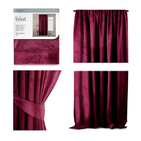 CURT/AH/VELVET/PLEAT/WINE/140X270/1PC
