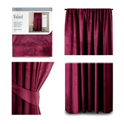 CURT/AH/VELVET/PLEAT/WINE/140X245/1PC